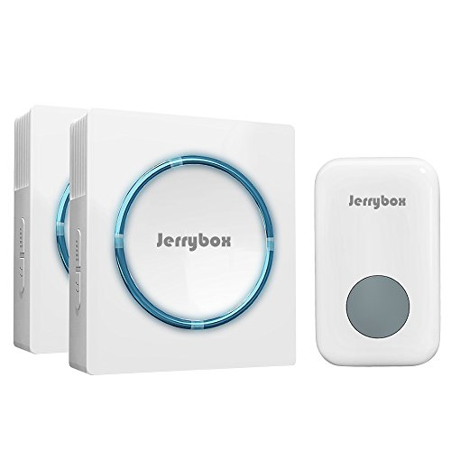Jerrybox Funkklingel Kabelloses Türklingel Set Tragbare Funk Türglocke, 48 Klingeltöne, 200m Reichweite, 2 Empfänger, 1 Klingelknopf Sender, Weiß
