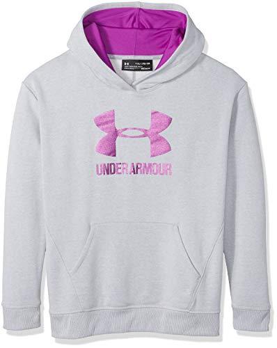 Under Armour Mädchen Threadborne Fleece Hoody, Mädchen, Overcast Gray/Purple Rave