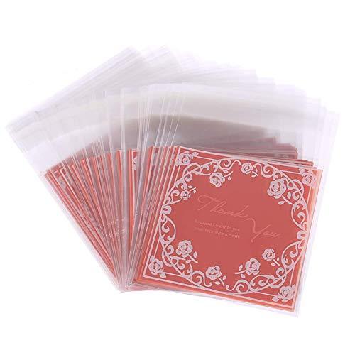 en Tasche Set von 100pcs 'Thank You' Rose Blume Bonbons Tüten Opp für Cookie Kekse Schokolade Tisch Deko für Hochzeits Verlobung Zubehör für DIY oder Bäckerei size 10*10cm+3cm (Rosa) ()