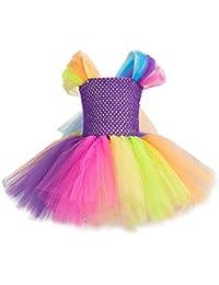 ARAUS Vestido Niña Fiesta Falda Tul de Iris Cintura Alta Vestido Ceremonia Verano
