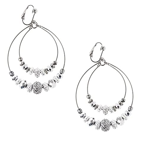 Claire's Girl's Hematite Caviar Beaded Double Hoop Clip-on Earrings in Silver