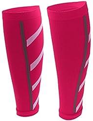 Unisex Atletismo Mangas De Compresión De Pierna De Ternera Calambres En Piernas - Rosa roja, M