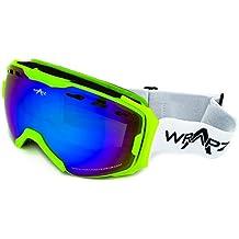 2015WrApz Freestyle Ski y Snowboard gafas, fluoro verde con ventilación Casco Compatible con antiniebla doble capa lente de espejo para 100% protección UV. Viene con bolsa de microfibra para pulir (libre