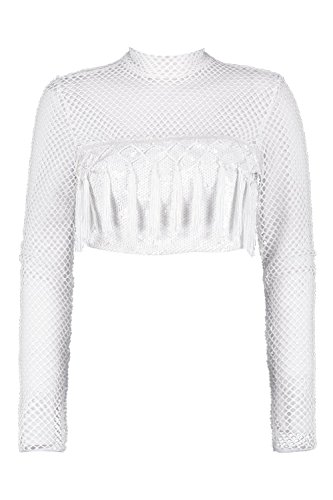 blanc Femmes Chelsey Sequin Mesh And Tassel Crop Top Blanc