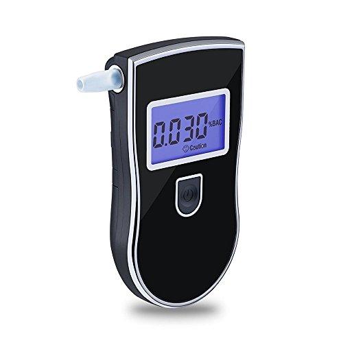 Portable Police Breathalyzer Analyzer Detector Digital Alcohol Breath Tester(Color black)