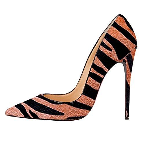 Onlymaker Damenschuhe High Heels Spitze Toe Pumps mit Animal Print Wildleder Leopard braun-12cm