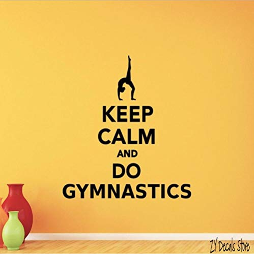 Olivialulu Gymnastik Wandtattoo Gym Vinyl Aufkleber Zitat Dekorieren Home Workout Poster Halten Sie Ruhe Und Tun Gymnastik Zitat Wanddekoration L576 56 * 63 Cm Anpassbare - Tür-workout-system