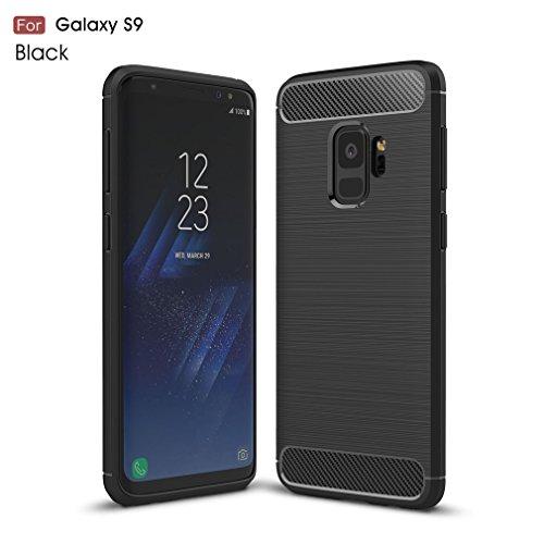Samsung Galaxy S9 Hülle, MHHQ Flexiblem Ultra Slim Carbon Fibre TPU Case Silikon Hybrid Schutzhülle Kohlenstoff-fasern Tasche Slim-Fit Cover für Samsung Galaxy S9 -Schwarz