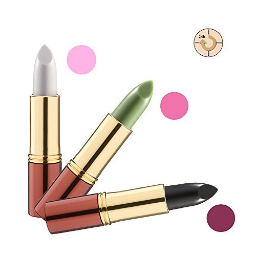 Ikos Rouge à Lèvres Lot de 3: Rouge à lèvres intelligent blanc / NACRE ROSE + VERT / rose de nuit + Noir/rouge cerise