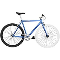 FabricBike-Bicicletta Fixie Nera, Single Speed, Fixie Bike, Telaio Hi-Ten di Acciaio, 10kg (Matte Blue & White, M-53)