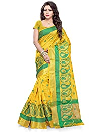 SATYAM WEAVES WOMEN'S ETHNIC WEAR COTTON SILK SAREE WITH BLOUSE PIECE.(KESAR)