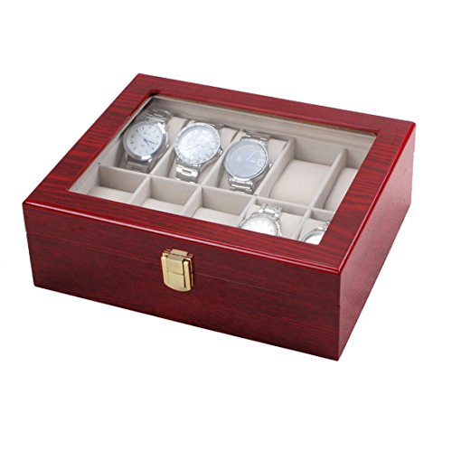 10 Slot caso di esposizione di legno della ciliegia Orologio vetro Top Jewelry Box di stoccaggio