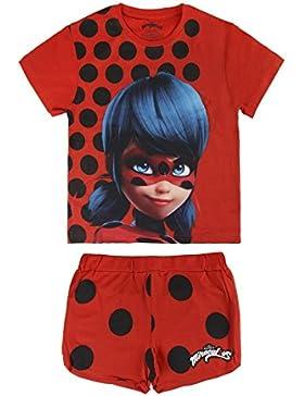 Miraculous, Le Storie di Ladybug e Chat Noir 2200002661 Pigiama Due Pezzi, Cotone, Bambina, Rosso
