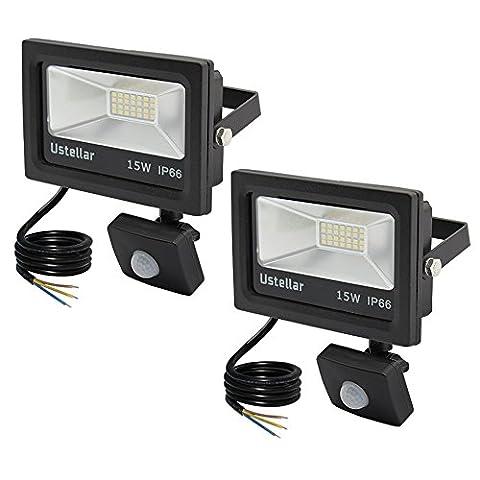 Ustellar 2er 15W LED Fluter mit Bewegungsmelder IP66 Wasserfest LED Sensor Strahler , 1200lm Kaltweiß 6000K, Superhell LED Sensor Außenstrahler Flutlichtstrahler Flutlicht LED Scheinwerfer Außenleuchten Objektbeleuchtung Wandstrahler