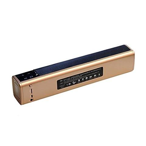 bescita portable super bass stéréo Bluetooth Enceinte sans fil pour Smartphone Tablet PC (or)