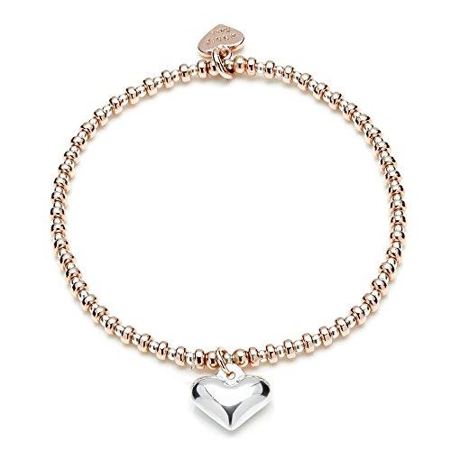 ANNIE HAAK Bracciale cuori in oro rosa con fascino 14ct Bonded oro della Rosa perle ovali 3mm, e 925 d'argento soffiato cuore Charm & Beads 2mm