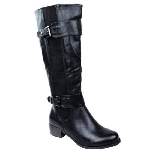ladies-womens-elasticated-faux-leather-riding-knee-wide-calf-high-shoe-boot-size-uk-5-eu-38-us-7-bla