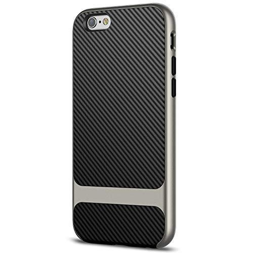JETech Funda para iPhone 6 iPhone 6s, Carcasa con Fibra de Carbono, Anti-Choques, Negro/Gris