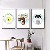 Suuyar 3 Pièce De Bande Dessinée Animal Cerf Ours Pingouin Art Minimaliste Toile Affiche Peinture Mur Photo Imprimer Moderne Maison Enfant Chambre Décor No Frame 40X50Cm