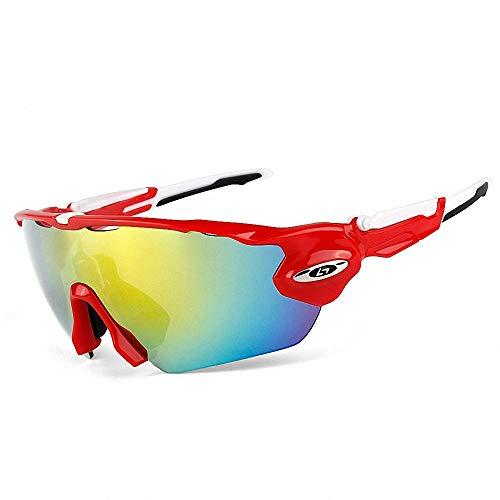 CBA BING Radsportbrille, polarisierte Sportbrille, Herren- und Damenreitbrille mit polarisiertem UV400-Schutz,Redwhite