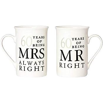 Diamond 60th Wedding Anniversary Gift Pair Of Mugs Amazon