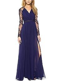 Saoye Fashion Vestiti Donna Eleganti Lunghi Chiffon In Pizzo Estivi Cerimonia  Da Sera Cocktail Vintage Manica 3f5c1cd4c21
