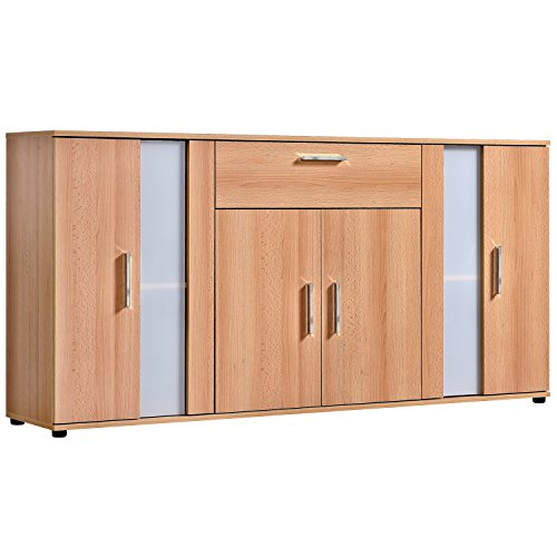 qovi9 fabriqs 'Der Koloss' Kommode, Sideboard, Highboard, Anrichte, Schrank in Buche mit Glaselement, 167x82x34 cm (B/H/T), Made IN Germany!