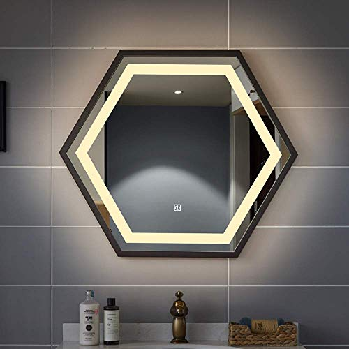 HZWLF Espejo de baño 700 * 800 mm Hexágono Marco de Acero Inoxidable Luz Led Lavabo Lavabo Smart Single...