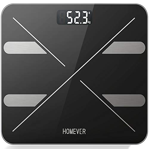 Körperfettwaage, Digitale Waage Personenwaage mit APP für Körperfett, BMI, Gewicht, Muskelmasse, Wasser, Protein, Skelettmuskel, Knochengewicht, BMR, usw 180 kg/400 lb -