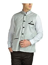 FDN Mens Jute Waistcoat(GRY775_Grey_XL)