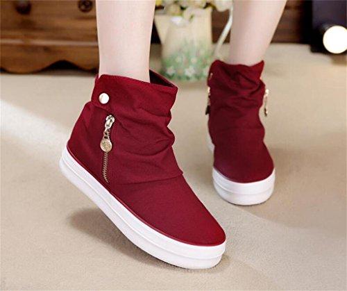 ALUK- Version coréenne de la haute-aide toile de chaussures femmes fermeture à glissière épaisseur-fin chaussures étudiant occasionnels ( couleur : Noir , taille : 38 ) Vin rouge