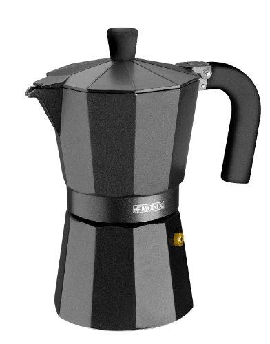 Monix Vitro Noir - Cafetera italiana, 6 tazas, color negro