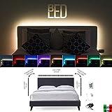 BEDLED | Kit striscia led per retroilluminazione testiera del letto matrimoniale, una piazza e mezzo o singolo. Strip led rgb colorata, pronta all'uso, con telecomando infrarossi
