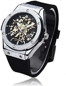 timelyo® Automatik-Herrenuhr Schwarz watch Replica Luxe mechanisch Skelett Stahl Sport