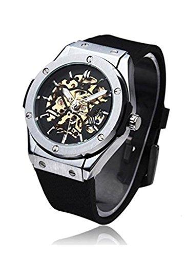 Timelyo Herren-Armbanduhr, Automatikuhr, Schwarz, mechanisch, Replikat, Skelett-Uhr, Stahl, Sport