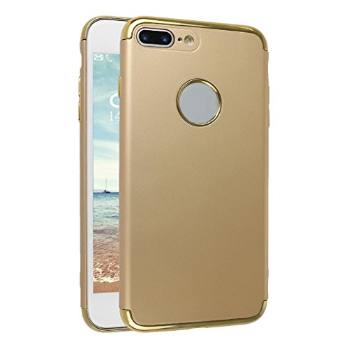 iPhone 7 Plus Hartschale, iPhone 7 Plus 3 in 1 Hülle, iPhone 7 Plus Full Body Case, Moon mood® 3 in 1 Anti-Fingerprint Kratzfeste Kunststoff Harte Rückseite Case Bumper Schutzhülle für Apple iPhone 7  Gold