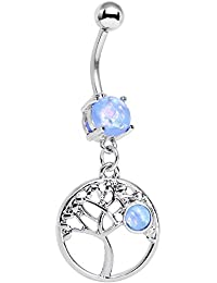 Body Candy Stainless Steel Iridescent Light Blue Circular Frame Terra Tree Of Life Dangle Belly Ring