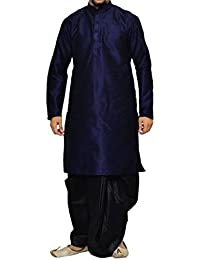 Royal Men's Art Silk Blend Dhoti Kurta Set _Blue