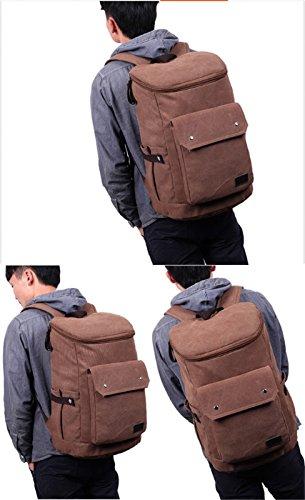 Herren-Schulter Tasche Rucksack Outdoor-Sportarten lässig Leinwand große Kapazität Bergsteigen Tasche einfarbig Brown
