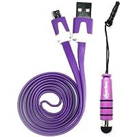 Emartbuy® Duo Pack für Alcatel OneTouch POP 7S 7 Zoll Tablet - Violett Metallic Mini Stylus + Lila Wohnung Anti-Tangle Micro USB Sync Übertragen von Daten und Ladekabel
