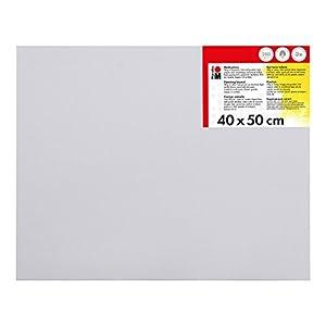 Marabu 1620000000400 - Malkarton weiß, ca. 40 x 50 cm, Kartonstärke ca. 0,4 cm, mit 280 g/qm Baumwolle kaschiert, 3 fach grundiert, leicht saugend, für Acryl-, Öl-, Gouache- und Temperafarben