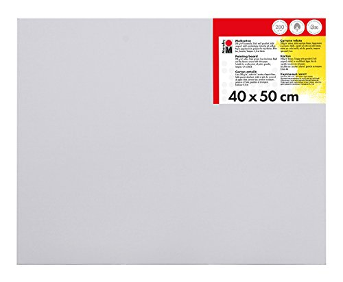 Marabu 1620000000400 - Malkarton, mit 280 g/qm Baumwolle kaschiert, 3 fach grundiert, leicht saugend, für Acryl-, Öl-, Gouache- und Temperafarben, ca. 40 x 50 cm, Kartonstärke ca. 0,4 cm, weiß
