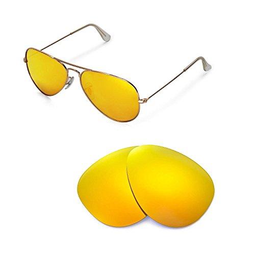 Walleva Ersatzgläser für Ray-Ban Aviator Large Metal RB3025 58mm Sonnenbrille - Mehrfache Optionen (24K Gold Mirror Coated - Polarisiert)