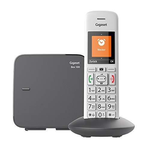 Gigaset E370 Schnurloses Telefon für Senioren, mit großen Tasten und SOS-Funktion, einfache Bedienung, extra großes Farbdisplay, einfache Bedienung) silber-grau