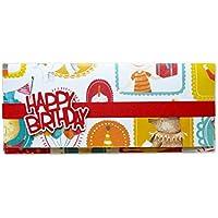 Porta soldi - compleanno -Bithday - busta portasoldi (formato 22 x 9,5 cm) + biglietto d'auguri vuoto all'interno - ideale per il tuo messaggio personale - realizzato interamente a mano.