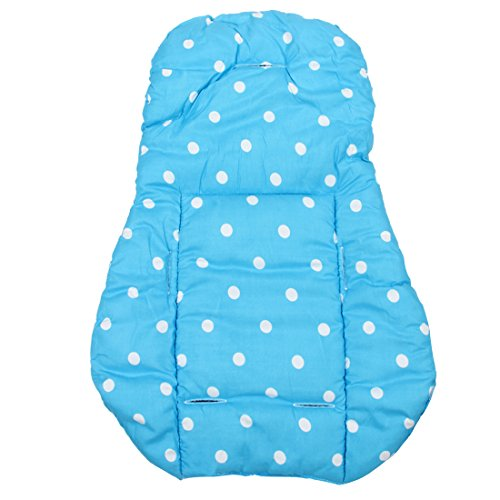 cojin de asiento de carrito de nino - SODIAL(R) Funda de algodon almohada de asiento de grueso de cochecito infantil de bebe azul