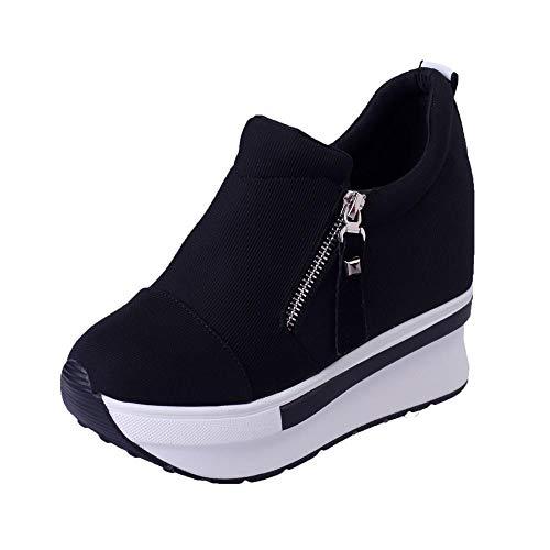 HEATLE Schuhe Damen Mode Gute Qualität High Heels Sommer Persönlichkeit Wedges Stiefel Plateauschuhe Slip On Stiefeletten Bequeme Freizeitschuhe(Schwarz,39)