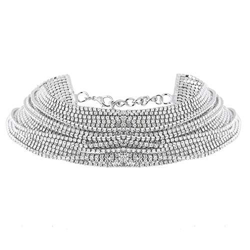 YESMAEay Frauen Halskette Retro Stil mehrschichtige Hängende Halskette Kette Kostüm Schmuck Halskette Körper Schmuck Silber Farbe