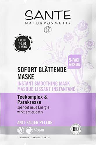 SANTE Naturkosmetik Sofort glättende Anti Aging Maske mit Parakresse, Glättet sofort spürbar, Anti-Falten Gesichtsmaske, Vegan, 5x8ml Multipack
