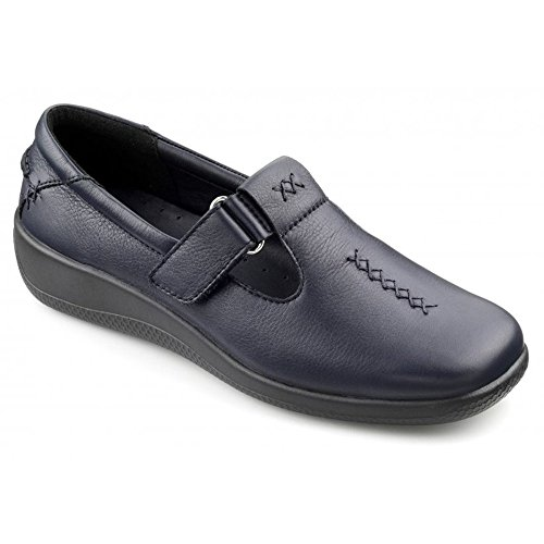 Hotter Womens Sunset Navy Leather Velcro Wide Fitting Shoe UK 7